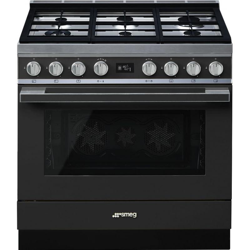 Aragaz SMEG Portofino CPF9GMAN, 90X60cm, 6 arzatoare, cuptor electric, timer, aprindere electronica, negru, curatare aburi