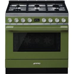 Aragaz SMEG Portofino CPF9GMBL, 90X60cm, 6 arzatoare, cuptor electric, timer, aprindere electronica, negru, curatare aburi
