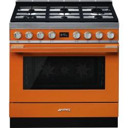 Aragaz SMEG Portofino CPF9GMOG, 90X60cm, 6 arzatoare, cuptor electric, timer, aprindere electronica, verde, curatare aburi