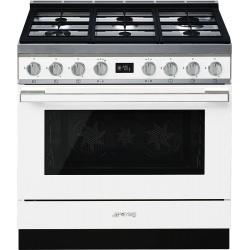 Aragaz SMEG Portofino CPF9GMX, 90X60cm, 6 arzatoare, cuptor electric, timer, aprindere electronica, inox, curatare aburi