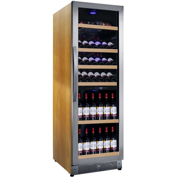 Racitor de vinuri Nevada Wood NW136D-SSW, 136 sticle, doua zone, lemn artar/otel inoxidabil