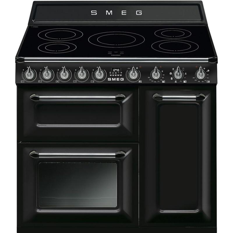 Aragaz SMEG Victoria TR93IBL, 90X60cm, inductie, 5 zone gatit, cuptor triplu electric, timer, aprindere electronica, negru