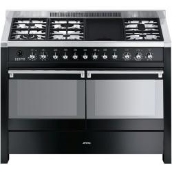 Aragaz SMEG Opera A4-8, 120X60cm, 6 arzatoare + gratar BBQ, cuptor dublu electric, timer, aprindere electronica, pizza, inox
