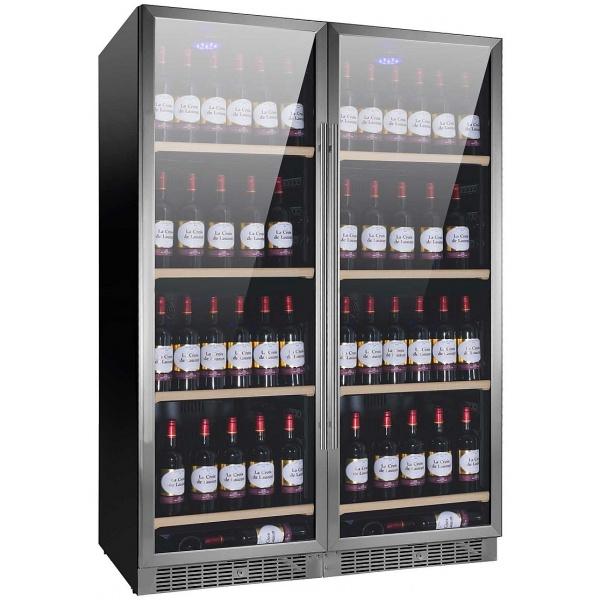 Racitor de vinuri Nevada Concept NW300D-S, 300 sticle, doua zone, negru