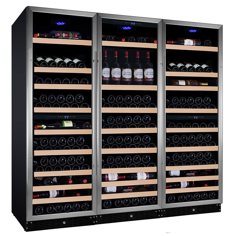Vitrina de vinuri Nevada Concept NW440F-S, 440 sticle, 5 zone, negru/inox