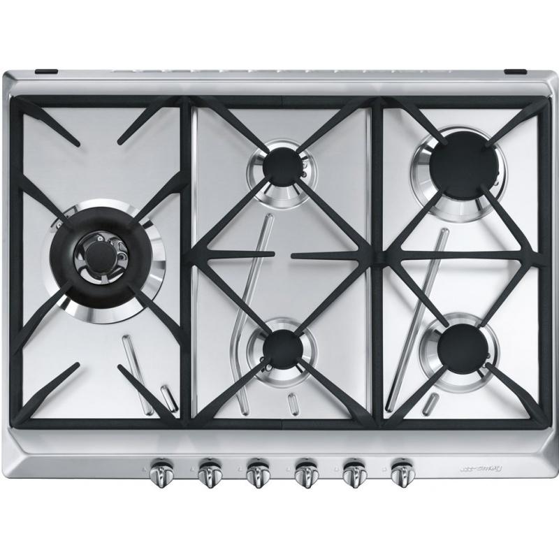 Plita incorporabila Smeg Contemporanea SRV575GH5, 70 cm, plita gaz, 5 arzatoare,sistem siguranta Stop-Gaz, inox