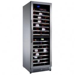 Vitrina de vinuri Nevada Inox NW171D-SSLX, 171 sticle, doua zone, inox
