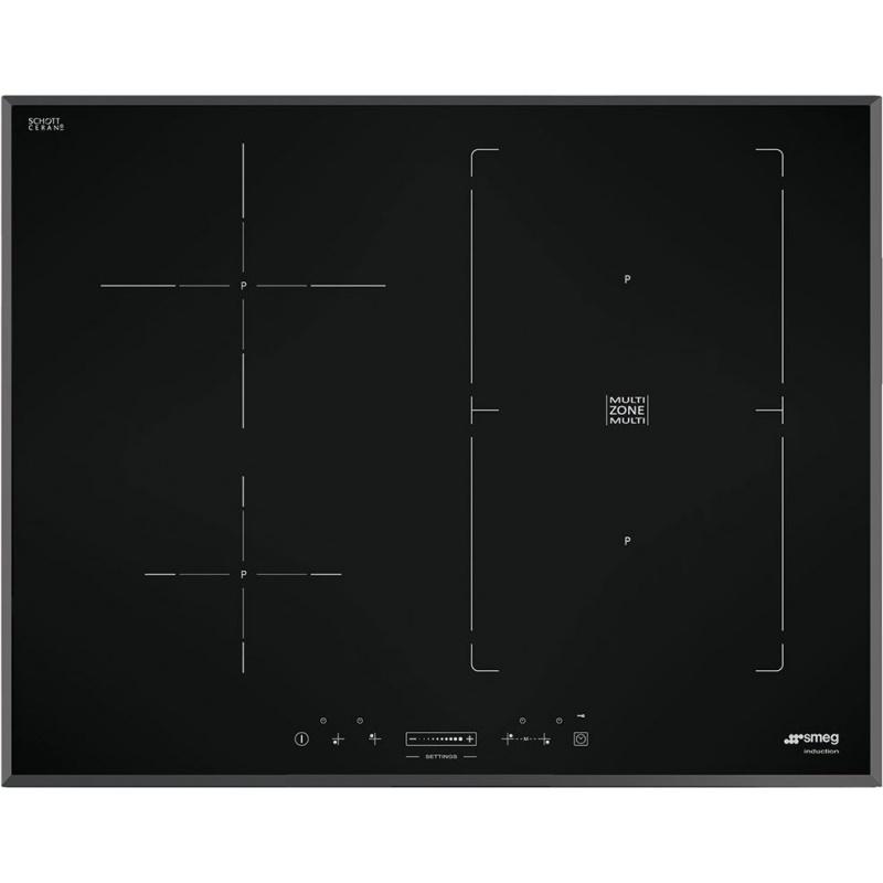 Plita incorporabila Smeg Universal SIM570B, 70 cm, plita inductie, 2+2 zone gatit multizone, sistem siguranta, sticla neagra