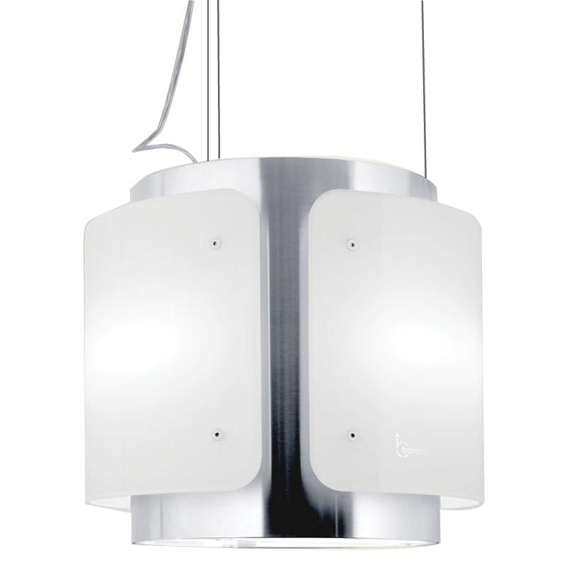 Hota design suspendata Baraldi Dessy 01DESIS040STW90, 40 cm, 900 m3/h, sticla alba/inox