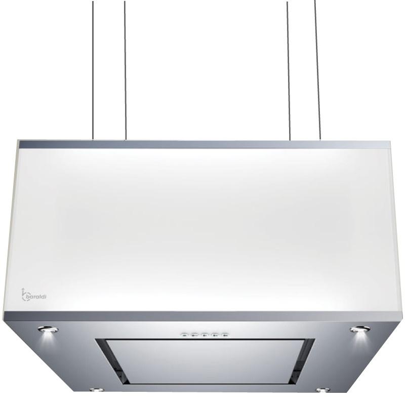 Hota design suspendata Baraldi Domina 01DOM060STG70, 60 cm, 700 m3/h, sticla alba/inox