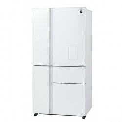 Side by side SHARP SJWX830FWH, 650l, Clasa A++, Plasmacluster,Hybrid Coolinng System, Inverter,dispenser apa, sticla alba