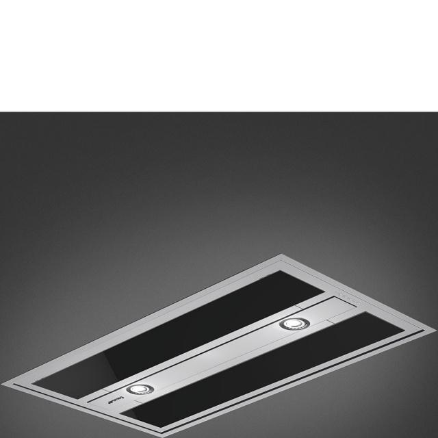 Hota tavan Smeg Universal KSEG90VXBE-2, 90 cm, 800 m3/h, sticla alba / inox