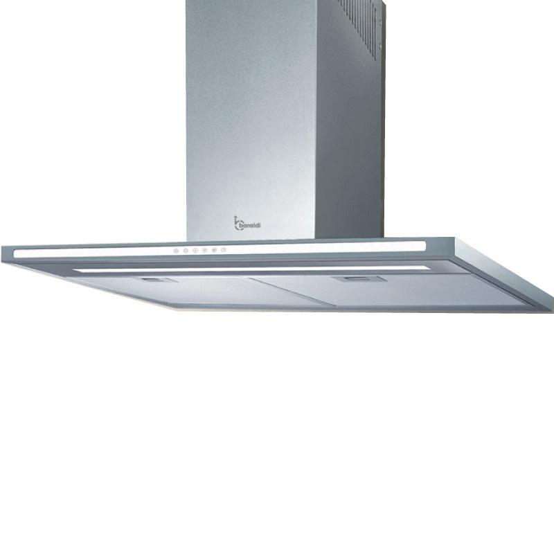Hota design Baraldi Lumina 01LUM090STW70, 90 cm, 700 m3/h, sticla alba/inox