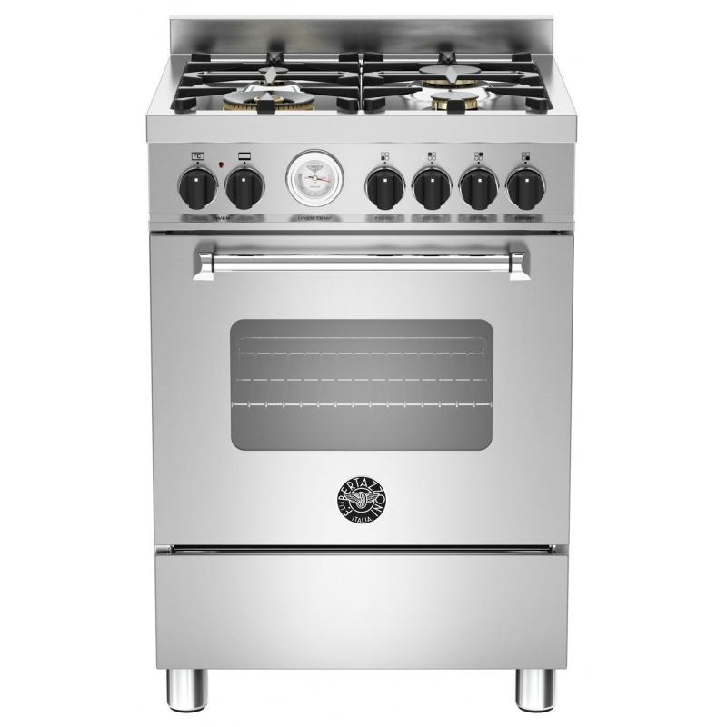 Aragaz Bertazzoni Master MAS604MFESXT, 60x60 cm, gaz, 4 arzatoare, cuptor electric multifunctional, inox