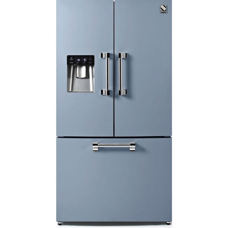 Side by Side Steel Ascot AFR9F , Clasa A+, 536L, No Frost, Dispenser Apa, Twist Ice Maker, albastru deschis