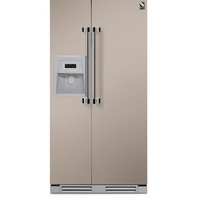 Side by Side incorporabil Steel Ascot AFRB9 , Clasa A+, 543L, No Frost, Dispenser Apa / Gheata, gri nisip
