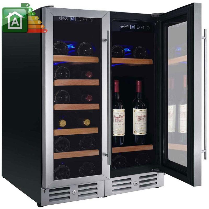 Vitrina de vinuri Nevada Concept NW42D-S, 42 sticle, doua zone, negru/otel inoxidabil