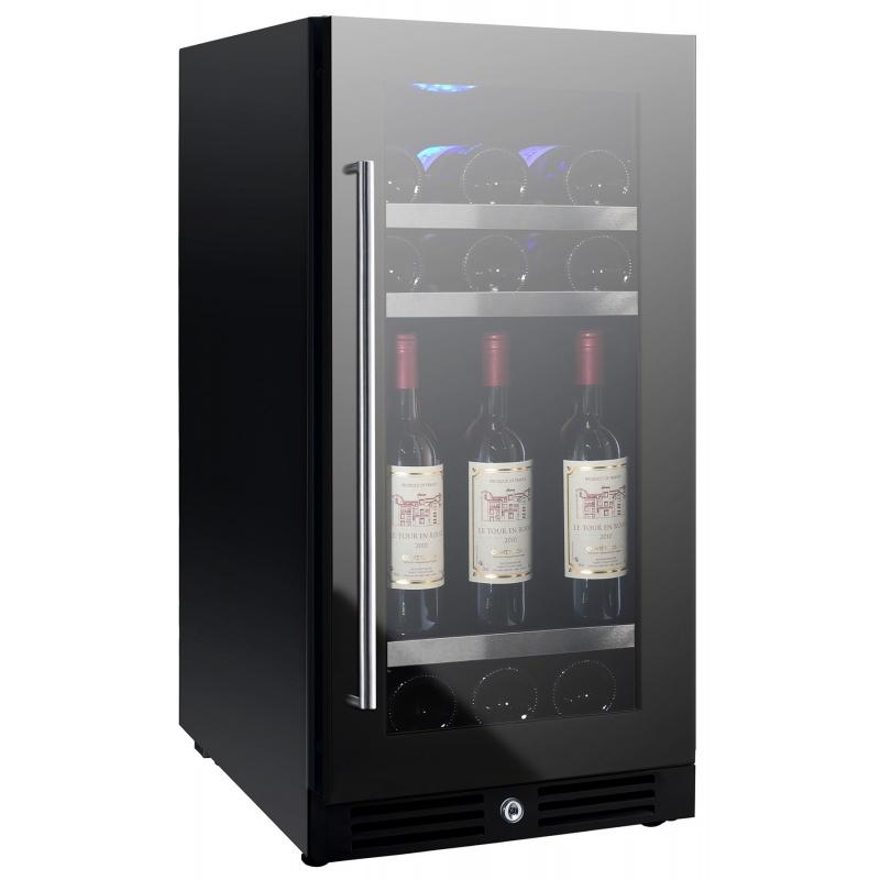 Vitrina de vinuri Nevada Concept NW37S-FG, 37 sticle, 1 zoa temperatura, Negru