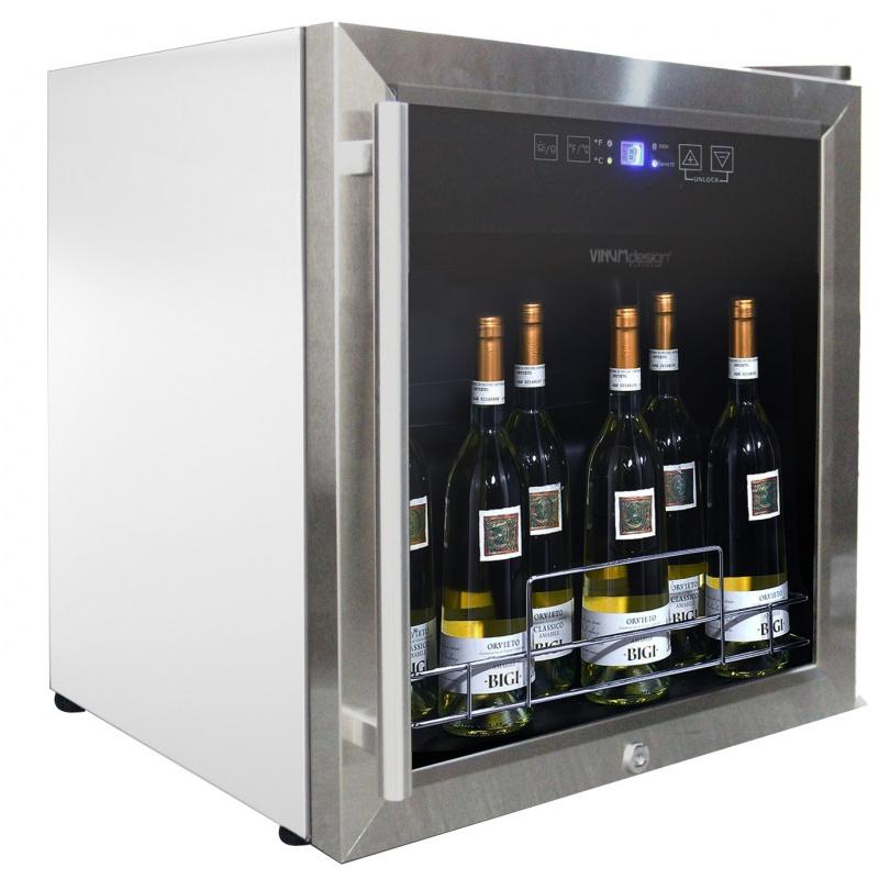 Vitrina de vinuri Vinum Design Color VD19SCS-9003, 17/19 sticle, 1 zona temperatura, alb / margini inox