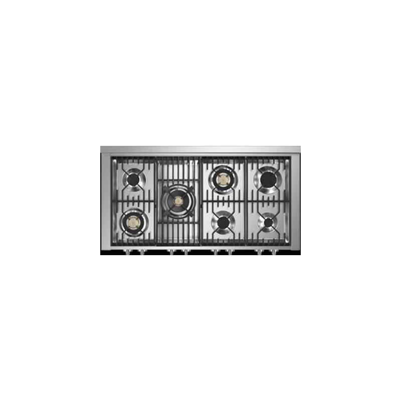 Aragaz Steel Genesi G12FF, 120X66cm, 7 arzatoare, 2 cuptoare, timer, aprindere electronica, crem inchis