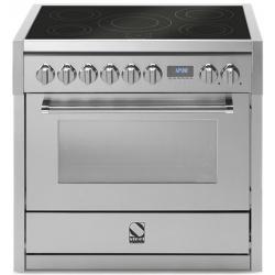 Aragaz Steel Oxford X9F, 90X60cm, 6 arzatoare, cuptor electric multifunctional, timer, aprindere electronica, crem inchis