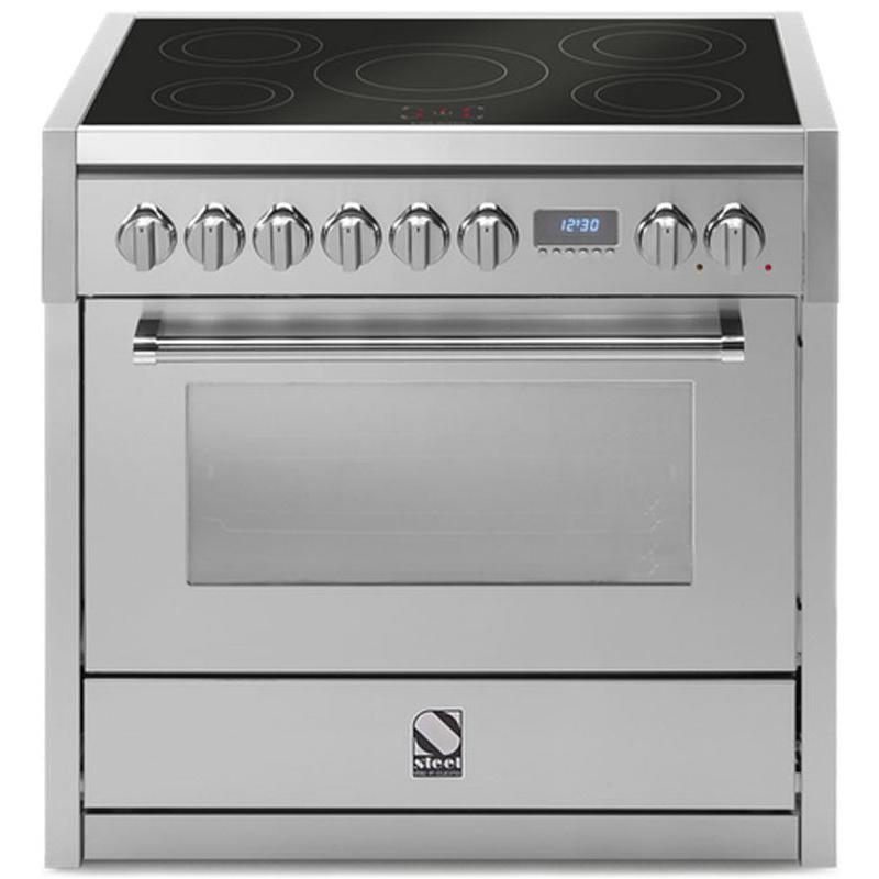 Aragaz Steel Genesi, 90X60cm, 6 arzatoare, cuptor electric multifunctional, timer, aprindere electronica, inox