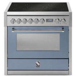 Aragaz Steel Genesi, 90X60cm, 6 arzatoare, cuptor electric multifunctional, timer, aprindere electronica, visiniu