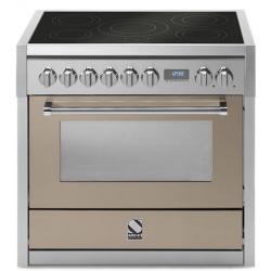 Aragaz Steel Genesi, 90X60cm, 6 arzatoare, cuptor electric multifunctional, timer, aprindere electronica, crem inchis