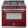Aragaz Steel Ascot, 90X60cm, 6 arzatoare, cuptor electric multifunctional, timer, aprindere electronica, negru antracit