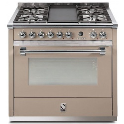 Aragaz Steel Ascot, 90X60cm, 6 arzatoare, cuptor electric multifunctional, timer, aprindere electronica, crem inchis