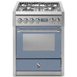 Aragaz Steel Genesi, 70X60cm, 4 arzatoare, cuptor electric multifunctional, timer, aprindere electronica, celeste