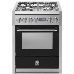 Aragaz Steel Genesi, 70X60cm, 4 arzatoare, cuptor electric multifunctional, timer, aprindere electronica, negru