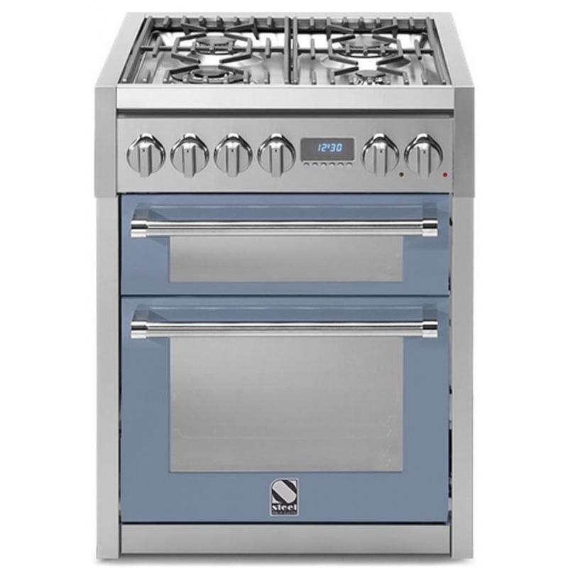 Aragaz Steel Genesi, 70X60cm, 4 arzatoare, cuptor dublu electric multifunctional, timer, aprindere electronica, celeste