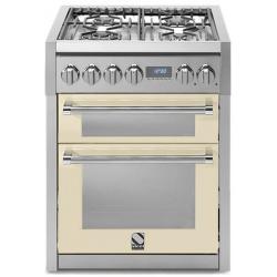 Aragaz Steel Genesi, 70X60cm, 4 arzatoare, cuptor dublu electric multifunctional, timer, aprindere electronica, crem