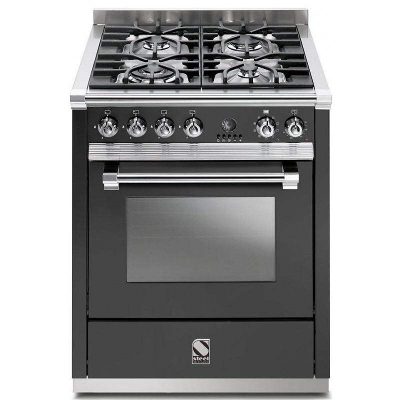 Aragaz Steel Ascot, 70X60cm, 4 arzatoare, cuptor electric multifunctional, timer, aprindere electronica, negru antracit