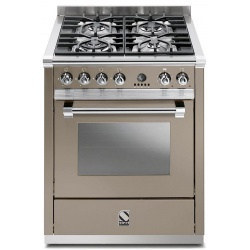 Aragaz Steel Ascot, 70X60cm, 4 arzatoare, cuptor electric multifunctional, timer, aprindere electronica, crem inchis
