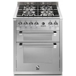 Aragaz Steel Genesi, 70X60cm, 4 arzatoare, cuptor dublu electric multifunctional, timer, aprindere electronica, inox