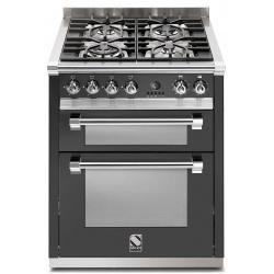 Aragaz Steel Ascot, 70X60cm, 4 arzatoare, cuptor dublu electric multifunctional, timer, aprindere electronica, mov