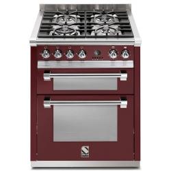 Aragaz Steel Ascot, 70X60cm, 4 arzatoare, cuptor dublu electric multifunctional, timer, aprindere electronica, negru antracit