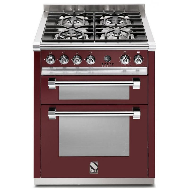 Aragaz Steel Ascot, 70X60cm, 4 arzatoare, cuptor dublu electric multifunctional, timer, aprindere electronica, visiniu