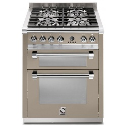Aragaz Steel Ascot, 70X60cm, 4 arzatoare, cuptor dublu electric multifunctional, timer, aprindere electronica, crem inchis
