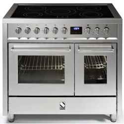 Aragaz Steel Enfasi E10FF, 100X60cm, 6 arzatoare, 2 cuptoare, timer, aprindere electronica, inox