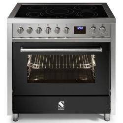 Aragaz Steel Enfasi E9F, 90X60cm, 6 arzatoare, cuptor electric multifunctional, timer, aprindere electronica, negru antracit