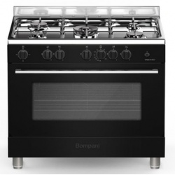 Aragaz Bompani Essential BO693EB/N, 90x60 cm, cuptor gaz, 5 arzatoare, aprindere electronica, grill electric, inox
