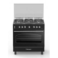 Aragaz Bompani Belle Epoque BO857EC/N, 80x50 cm, cuptor gaz, 5 arzatoare, aprindere electronica, grill electric, negru mat