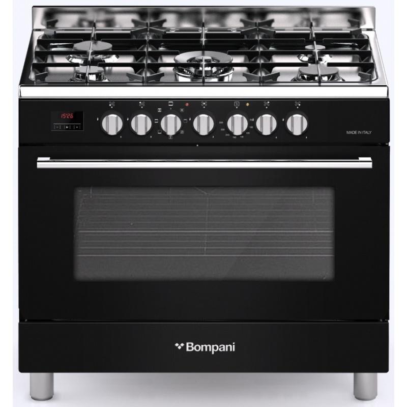 Aragaz Bompani Diva BO687MJ/N 90x60 cm plita gaz 5 arzatoare aprindere electronica grill negru