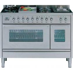 Aragaz ILVE Profesional line PS120, 120X60cm, 7 arzatoare, cuptor gaz+electric, timer, aprindere electronica, inox