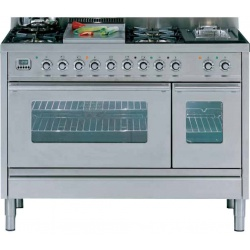 Aragaz ILVE Profesional line PS120, 120X60cm, 7 arzatoare, 2 cuptoare electrice, timer, aprindere electronica, inox