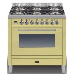 Aragaz ILVE Profesional line P90, 90X60cm, 5 arzatoare, cuptor gaz, timer, aprindere electronica, alb
