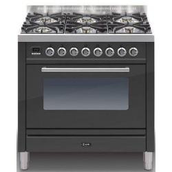 Aragaz ILVE Profesional line P90, 90X60cm, 4 arzatoare, cuptor electric, timer, Tepanyaki, aprindere electronica, negru